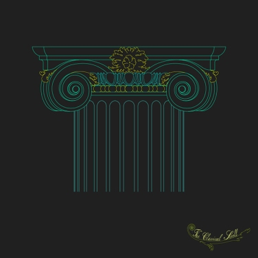 Architectural Print Ionic Capital Green Drawing